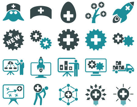 medical distribution: Medical icon set. Style is bicolor icons drawn with soft blue colors on a white background. Illustration