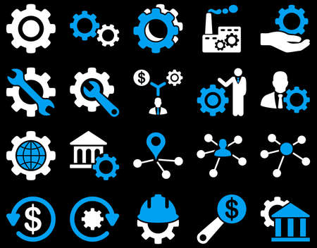 office automation: Settings and Tools Icons. Vector set style is bicolor flat images, blue and white colors, isolated on a black background. Illustration