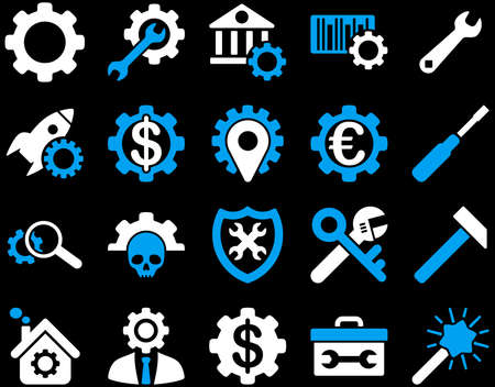 cash register building: Settings and Tools Icons. Vector set style is bicolor flat images, blue and white colors, isolated on a black background. Illustration