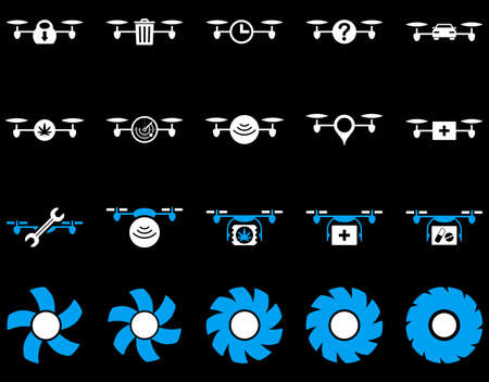 medical ventilator: Air drone and quadcopter tool icons. Icon set style is flat glyph bicolor images, blue and white symbols, isolated on a black background.