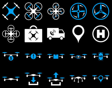 mech: Air drone and quadcopter tool icons. Icon set style is flat glyph bicolor images, blue and white symbols, isolated on a black background.