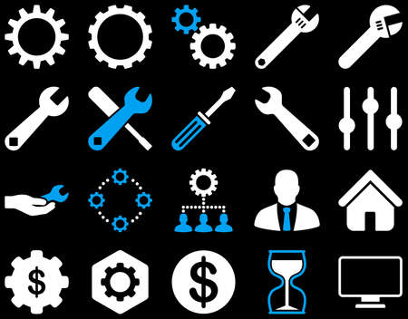 setup man: Settings and Tools Icons. Vector set style is bicolor flat images, blue and white colors, isolated on a black background. Illustration