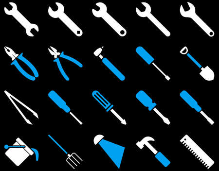 atomiser: Equipment and Tools Icons. Vector set style is bicolor flat images, blue and white colors, isolated on a black background.