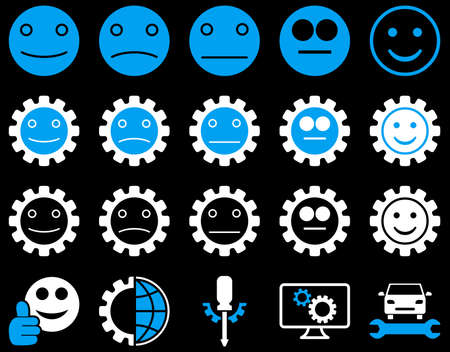 smiley face car: Tools and Smile Gears Icons. Vector set style is bicolor flat images, blue and white colors, isolated on a black background. Illustration
