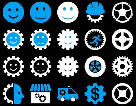 workhouse: Tools and Smile Gears Icons. Vector set style is bicolor flat images, blue and white colors, isolated on a black background. Illustration