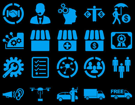 gear box: Business, trade, shipment icons. These flat symbols use blue color. Images are isolated on a black background. Angles are rounded.
