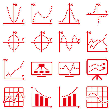 Dotted vector infographic business icons. This vector icon set uses red color and white background.