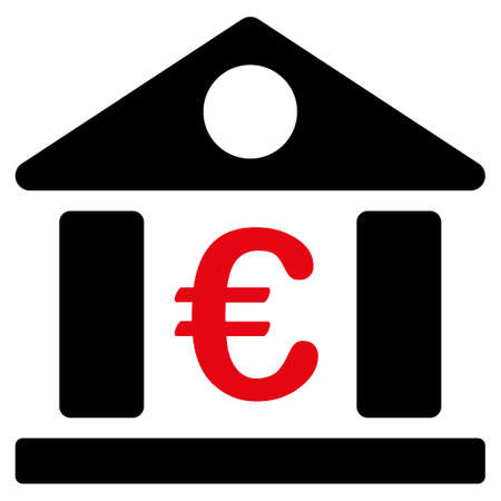 intensive: Bank building  icon. Vector style is flat bicolor, intensive red and black symbol, rounded angles, white background.