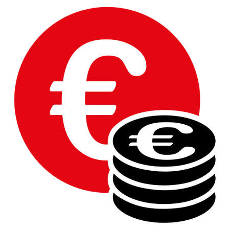 Euro coin stack  icon. Vector style is flat bicolor, intensive red and black symbol, rounded angles, white background. Vettoriali