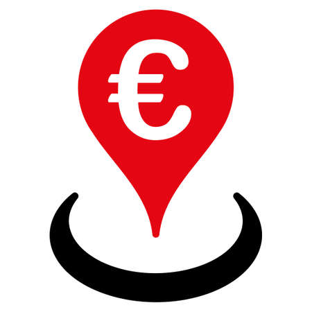 market place: Location  icon. Vector style is flat bicolor, intensive red and black symbol, rounded angles, white background.