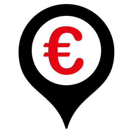 map marker: Map marker  icon. Vector style is flat bicolor, intensive red and black symbol, rounded angles, white background.