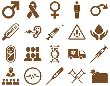 impotence: Medical icon set. Style is icons drawn with brown color on a white background.