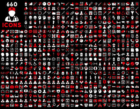 red condom: 690 medical service, health care, pharmacy business, drugstore, science icons. Icon set style is bicolor flat, red and white glyph symbols, rounded angles, black background.