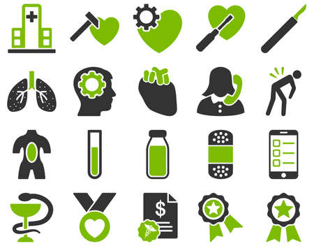 hammer head: Medical icon set. Style is bicolor icons drawn with eco green and gray colors on a white background.