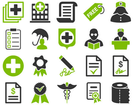 medical bills: Medical icon set. Style is bicolor icons drawn with eco green and gray colors on a white background.