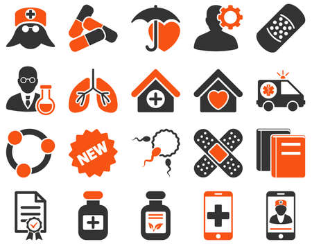 brothel: Medical icon set. Style is bicolor icons drawn with orange and gray colors on a white background.