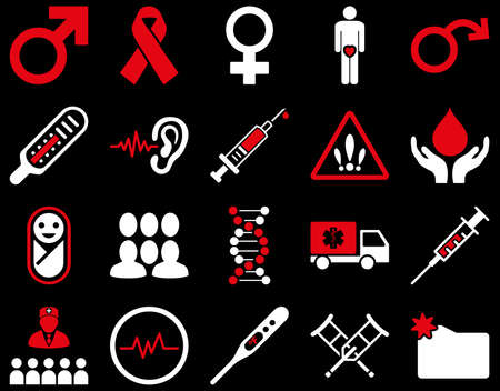 impotence: Medical icon set. Style is bicolor icons drawn with red and white colors on a black background. Illustration