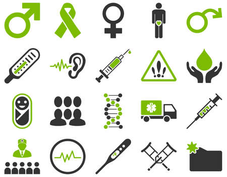 impotence: Medical icon set. Style is bicolor icons drawn with eco green and gray colors on a white background.