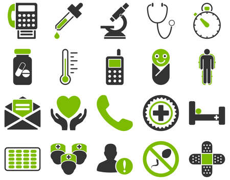 phial: Medical icon set. Style is bicolor icons drawn with eco green and gray colors on a white background.