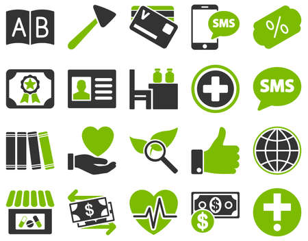 neurologist: Medical icon set. Style is bicolor icons drawn with eco green and gray colors on a white background.