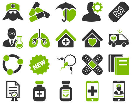 brothel: Medical icon set. Style is bicolor icons drawn with eco green and gray colors on a white background.
