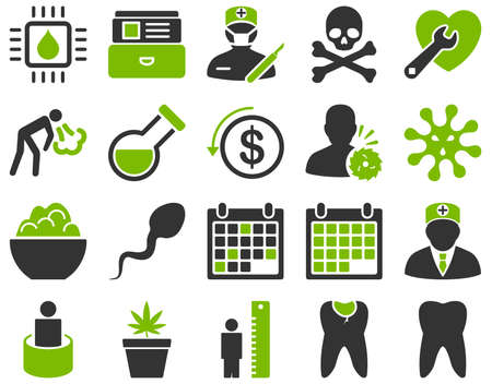muerte: Conjunto de iconos médica. El estilo es bicolor iconos dibujados con colores eco verde y gris sobre un fondo blanco. Vectores
