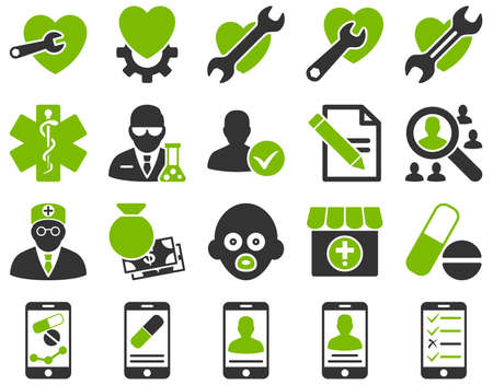 Medical icon set. Style is bicolor icons drawn with eco green and gray colors on a white background.