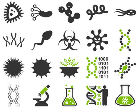 ameba: Medical icon set. Style is bicolor icons drawn with eco green and gray colors on a white background.
