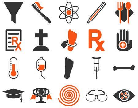 lens brush: Medical icon set. Style is bicolor icons drawn with orange and gray colors on a white background.