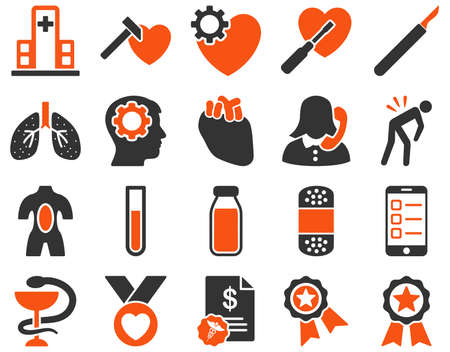 fart: Medical icon set. Style is bicolor icons drawn with orange and gray colors on a white background.
