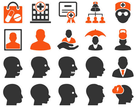 attest: Medical icon set. Style is bicolor icons drawn with orange and gray colors on a white background.