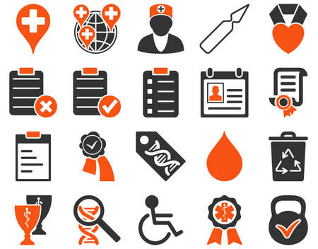 ampule: Medical icon set. Style is bicolor icons drawn with orange and gray colors on a white background.