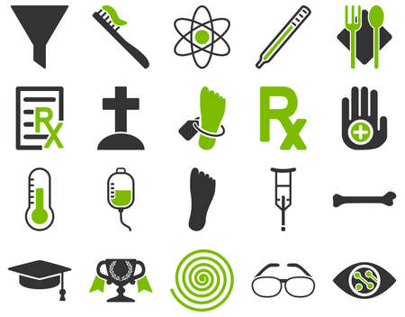 lens brush: Medical icon set. Style is bicolor icons drawn with eco green and gray colors on a white background.
