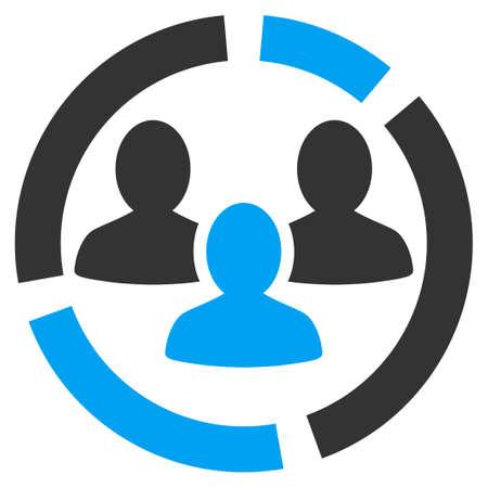 demografia: Icono de diagrama de Demografía. Estilo Glifo es símbolo plana bicolor, ángulos redondeados, fondo blanco.