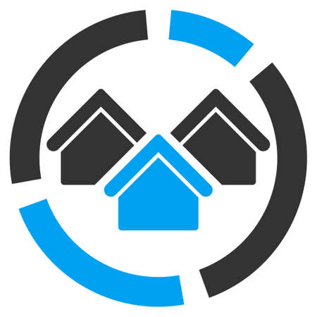 realty: Realty diagram icon. Glyph style is bicolor flat symbol, rounded angles, white background.