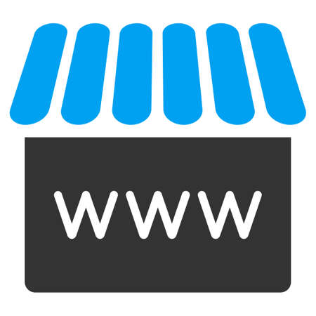 alibaba: Webstore icon. Glyph style is bicolor flat symbol, rounded angles, white background.