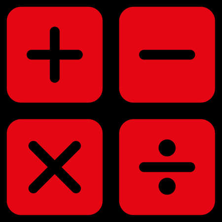 subtract: Calculator icon. This flat glyph symbol uses red color, rounded angles, and isolated on a black background.
