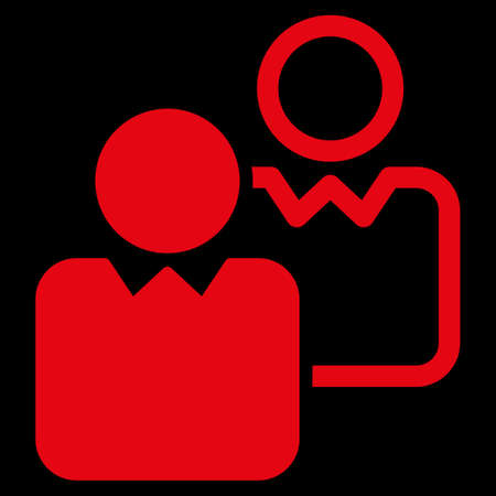 director de escuela: Clientes icono. Este símbolo glifo plana utiliza el color rojo, ángulos redondeados, y aislado en un fondo negro.