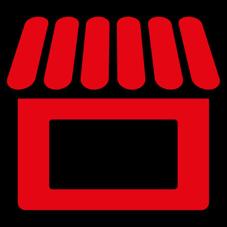 Shop icon. This flat glyph symbol uses red color, rounded angles, and isolated on a black background. Stock Photo