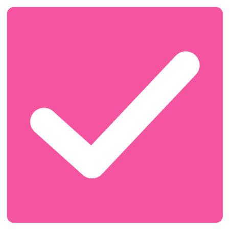 marked boxes: Check icon. This flat glyph symbol uses pink color, rounded angles, and isolated on a white background.