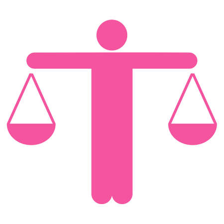 approximate: Lawyer icon. This flat glyph symbol uses pink color, rounded angles, and isolated on a white background.