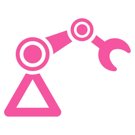 manipulator: Manipulator icon. This flat glyph symbol uses pink color, rounded angles, and isolated on a white background. Archivio Fotografico