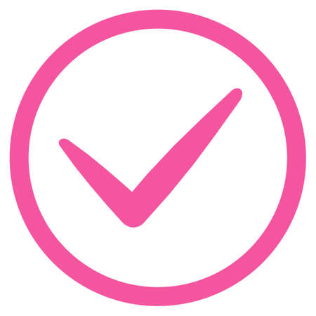ok symbol: OK icon. This flat glyph symbol uses pink color, rounded angles, and isolated on a white background. Stock Photo