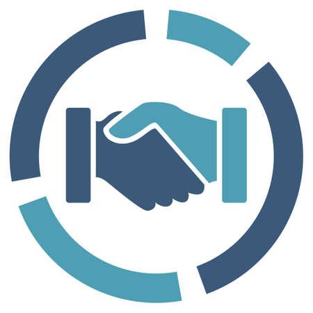 apreton de manos: Icono de diagrama de Adquisición. Estilo Glifo es símbolo plana bicolor, cian y azul, colores, ángulos redondeados, fondo blanco.