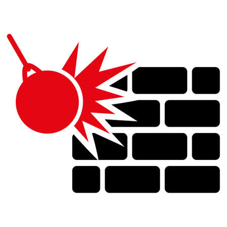 impact tool: Destruction icon. Style is flat bicolor symbol, intensive red and black colors, rounded angles, white background.