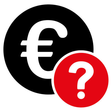 trading questions: Euro status icon. Style is flat bicolor symbol, intensive red and black colors, rounded angles, white background. Stock Photo