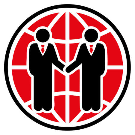 global partnership: Global partnership icon. Style is flat bicolor symbol, intensive red and black colors, rounded angles, white background.