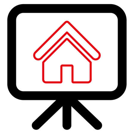 Project icon. Style is flat bicolor symbol, intensive red and black colors, rounded angles, white background.