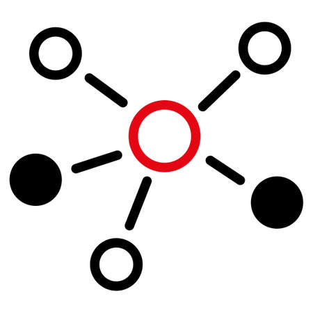 atomic center: Relations icon. Style is flat bicolor symbol, intensive red and black colors, rounded angles, white background. Stock Photo