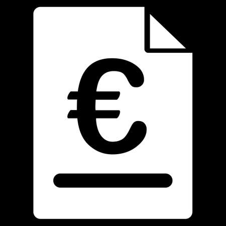 indenture: Invoice. Glyph style is flat, white symbol, rounded angles, black background. Stock Photo